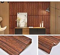 Декоративна 3D панель самоклейка під червоне дерево 700х770х5мм