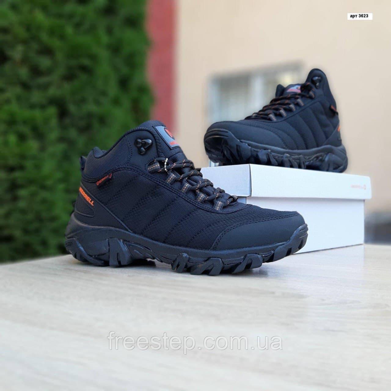 Чоловічі зимові кросівки в стилі Merrell чорні з помаранчевим