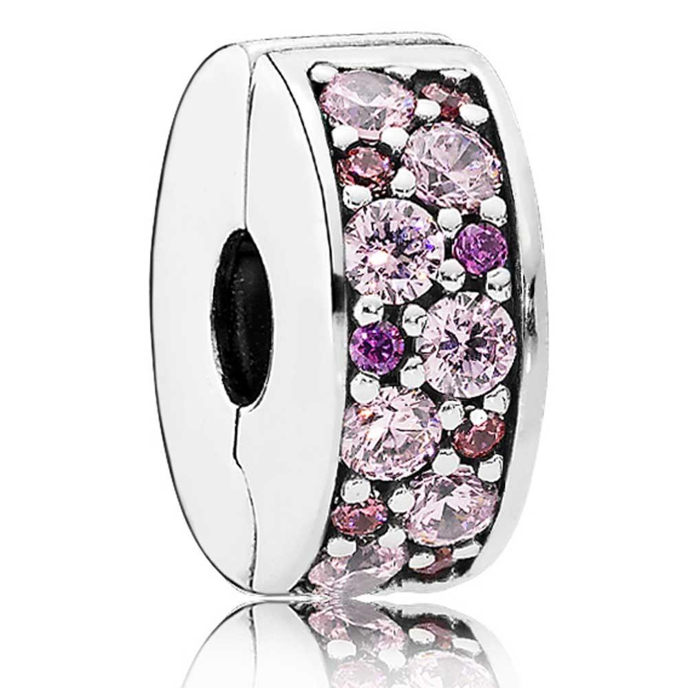 Фиксатор с розовыми и лиловыми кубическими циркониями в стиле Pandora