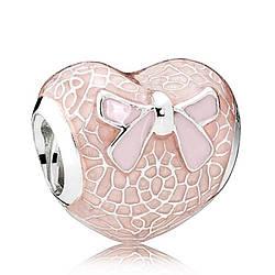 Подвеска-шарм «Розовый бант и кружевное сердце»