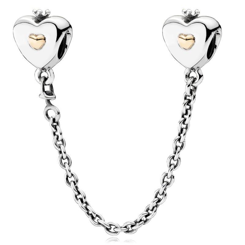 Защитная цепочка «Сердца с золотом» позолота копия Pandora