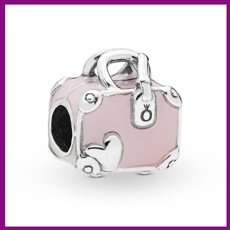 Серебряный шарм «Розовая дорожная сумка»