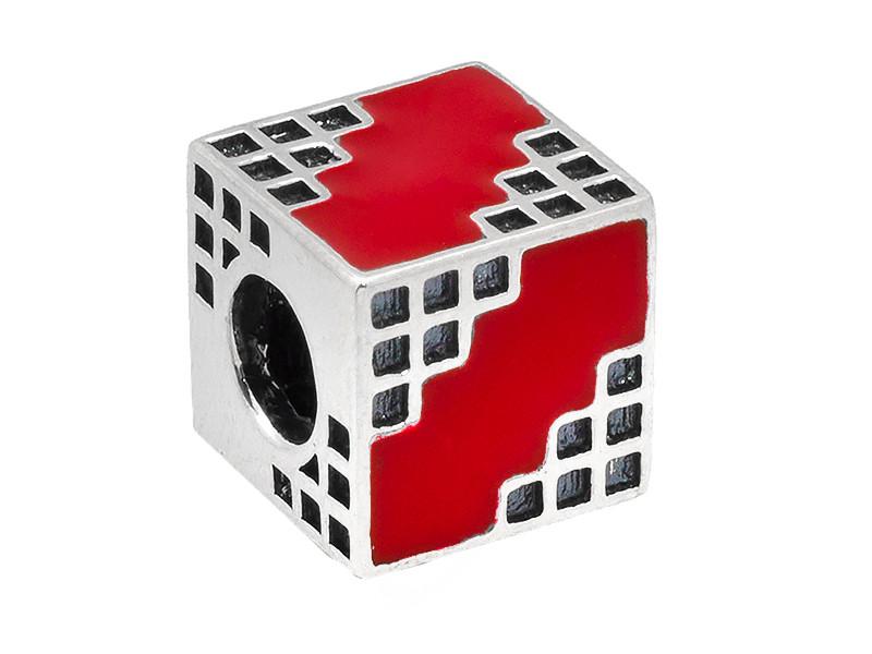 Серебряный шарм Барбарис Красный кубик