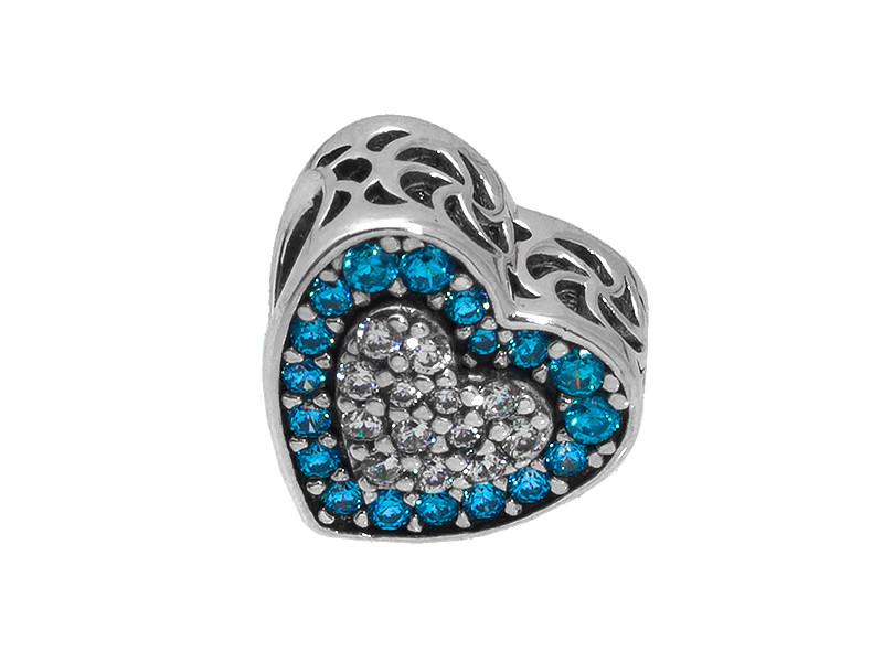 Серебряный шарм голубое сердце паве Барбарис