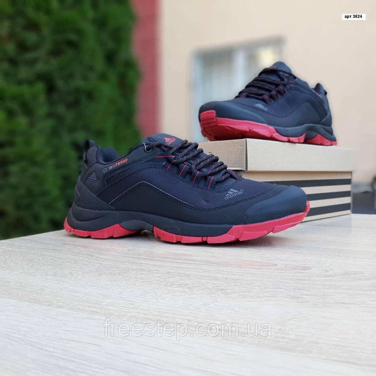 Чоловічі зимові кросівки в стилі Adidas Climaproof чорні на красній