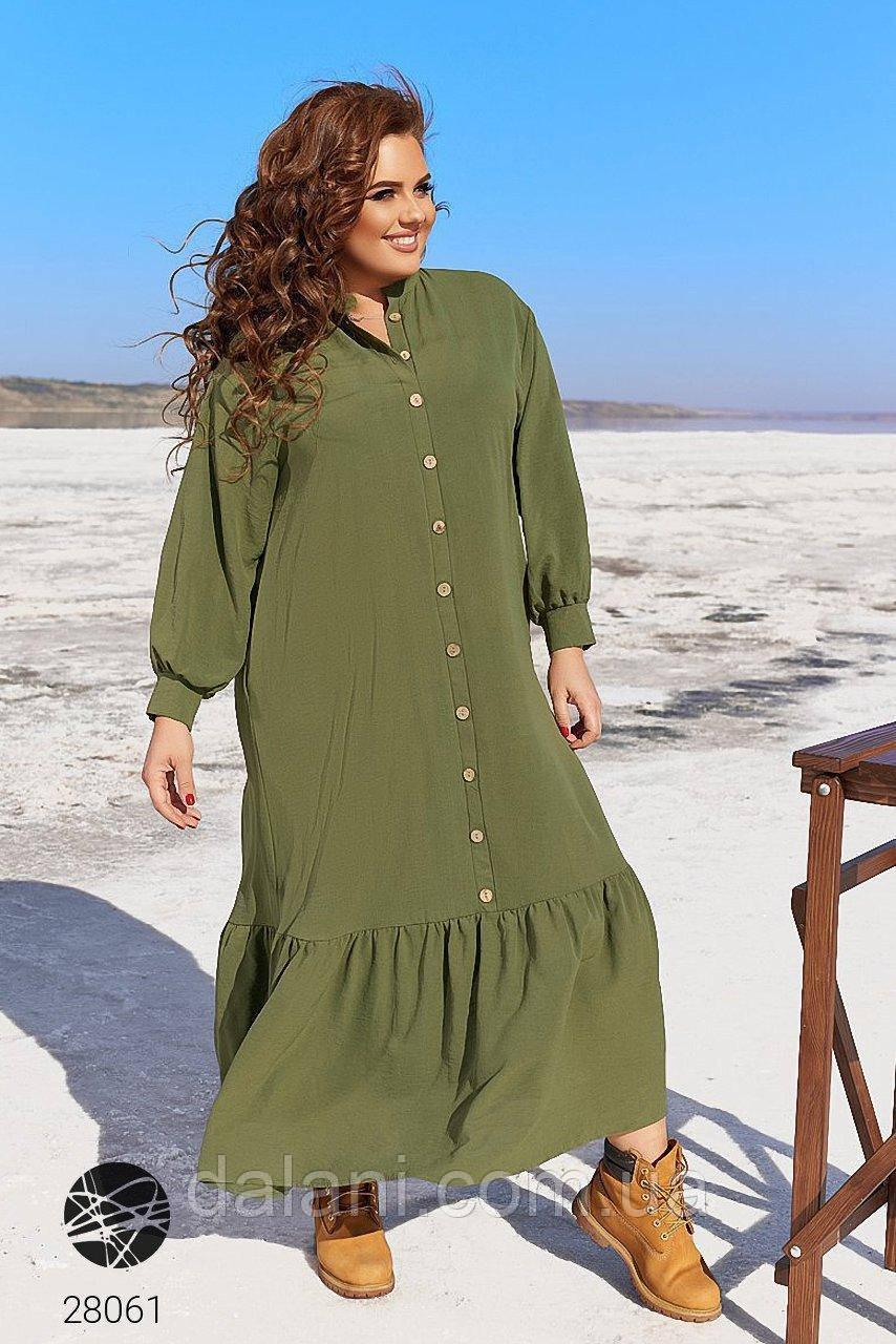Жіноча сукня-сорочка хакі міді з оборками вільного крою