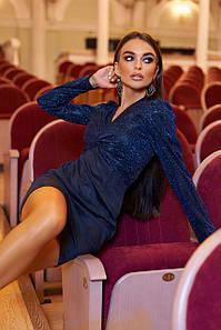 Вечернее платье нарядное платье на новый год 2021  ц. тёмно-синий р. L, S, M, XL