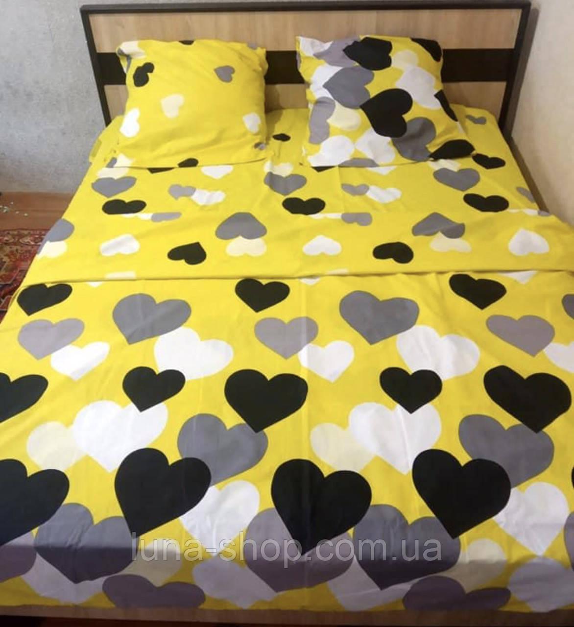 Постельный комплект Желтый с сердцами (бязь)
