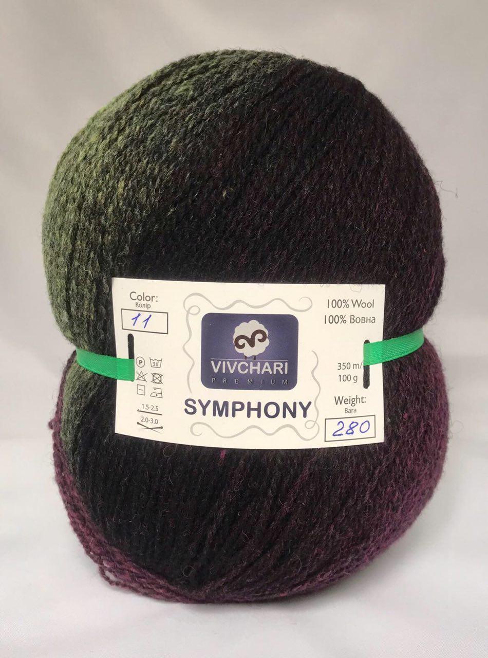 Пряжа шерстяная Vivchari Premium Symphony, Color No.11 зелено-черно-баклажанный меланж