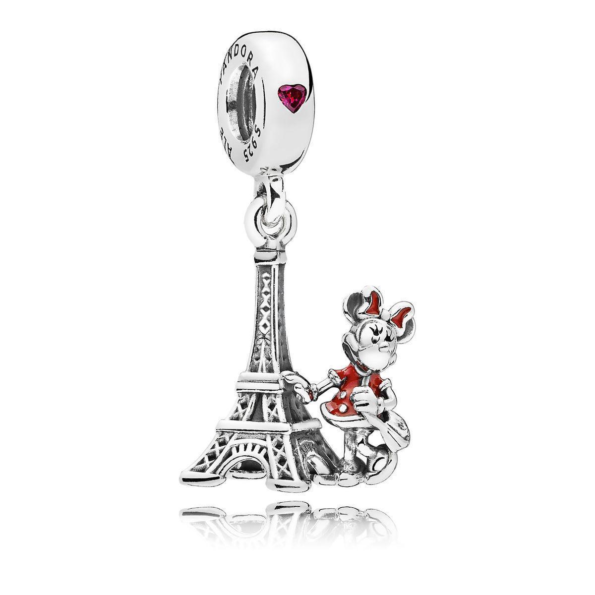 Серебряный шарм «Эйфелевая башня и Минни Маус»