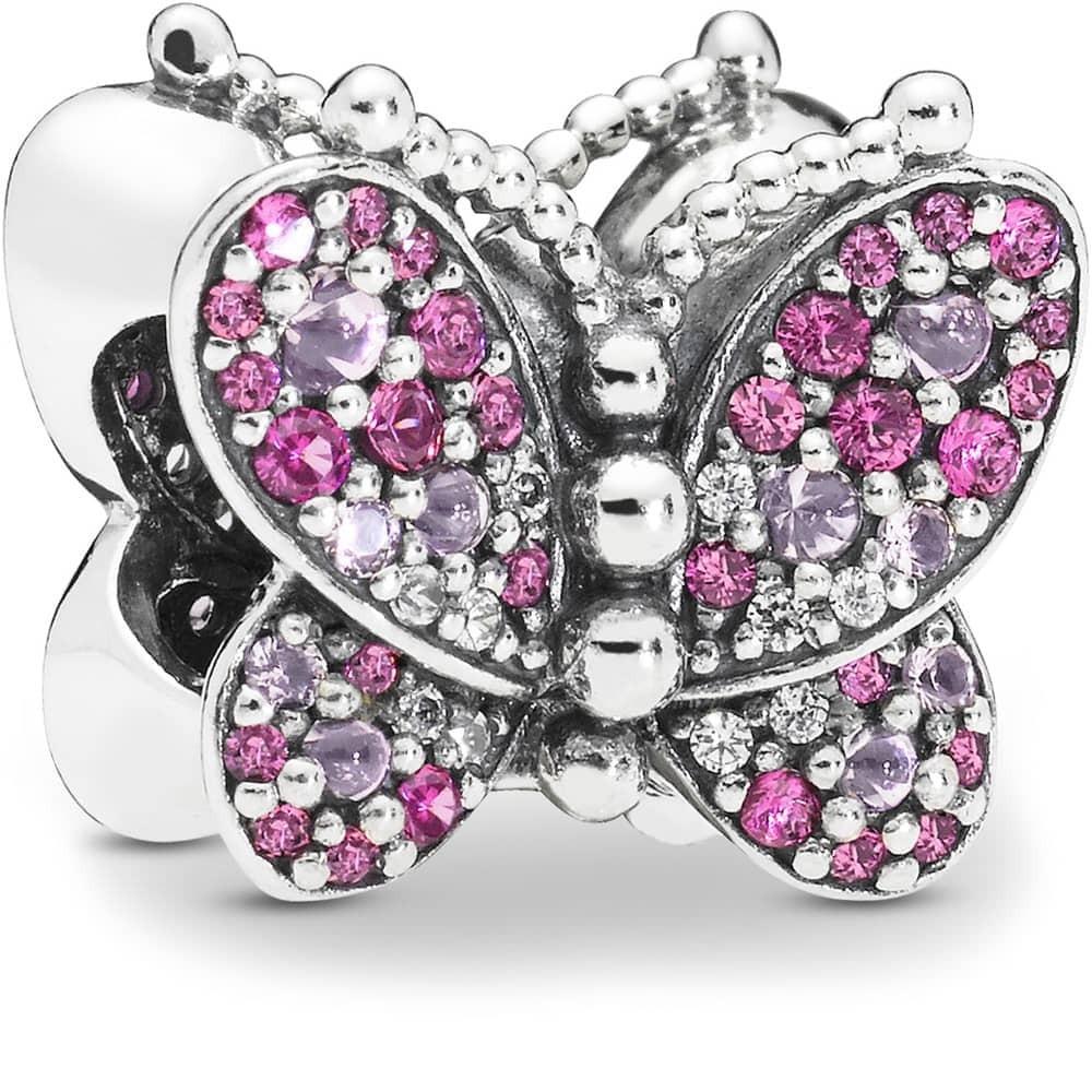 Шарм «Сверкающая розовая бабочка»