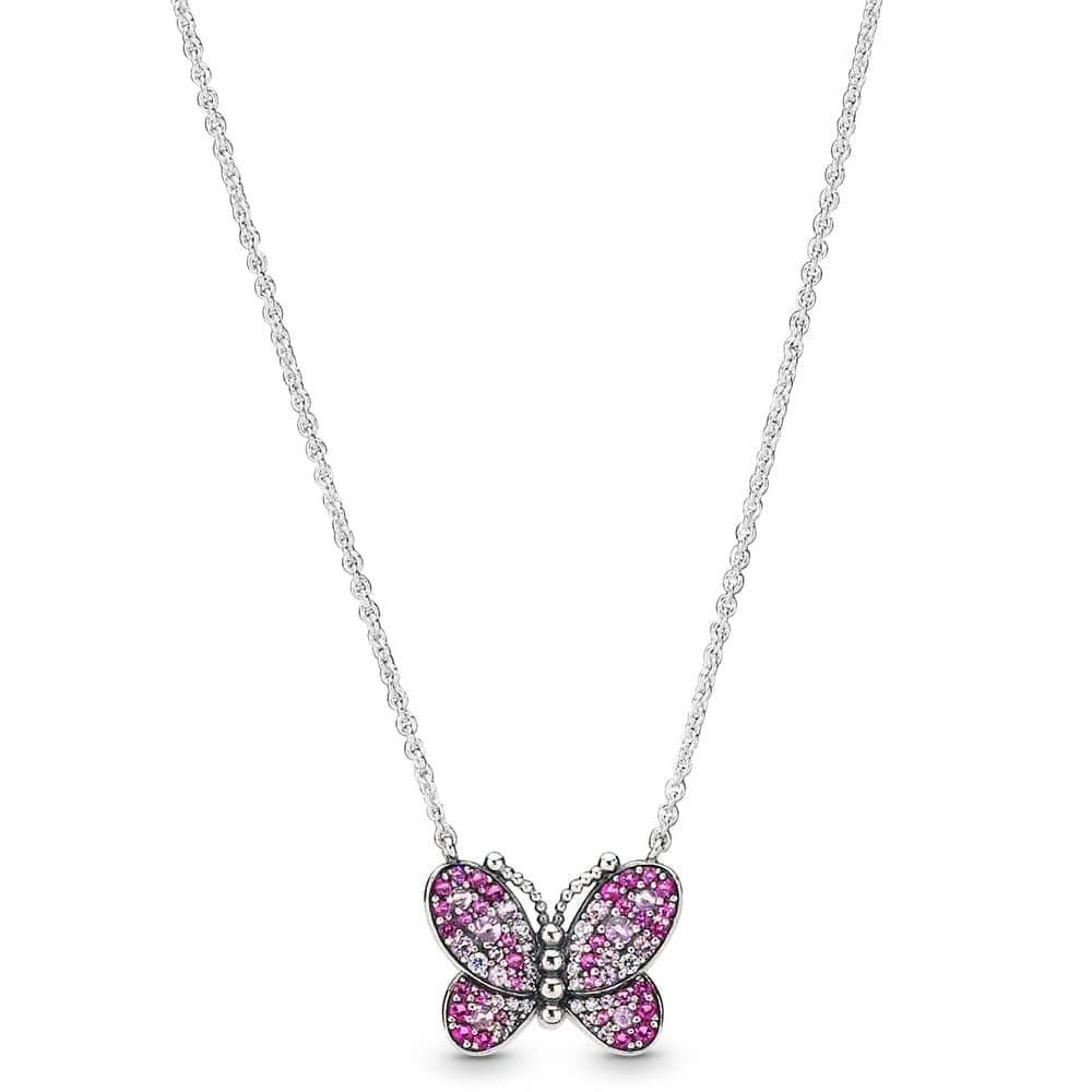 """Кольє срібний """"Сліпуча рожева метелик"""""""