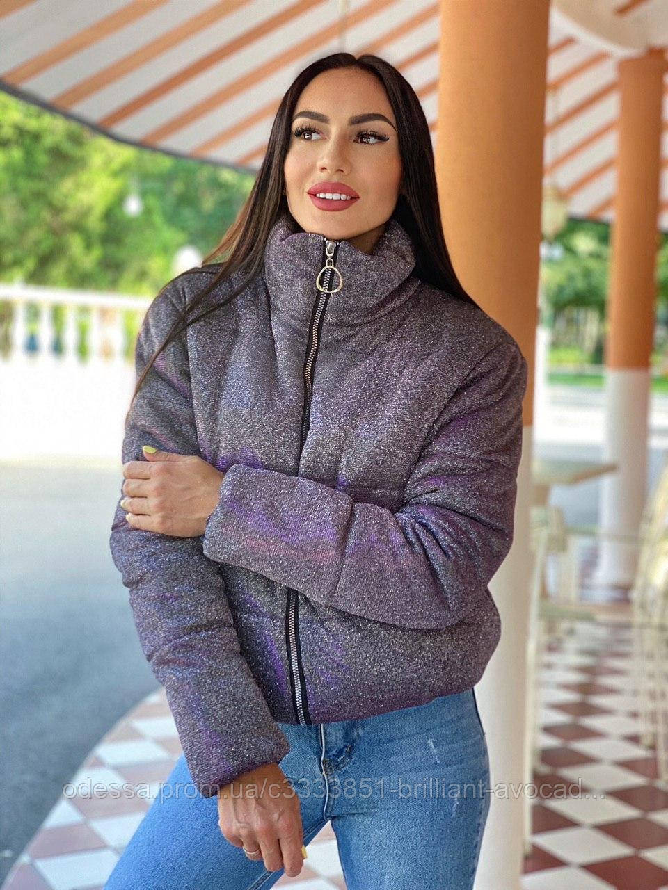 Женская модная короткая блестящая люрексная куртка