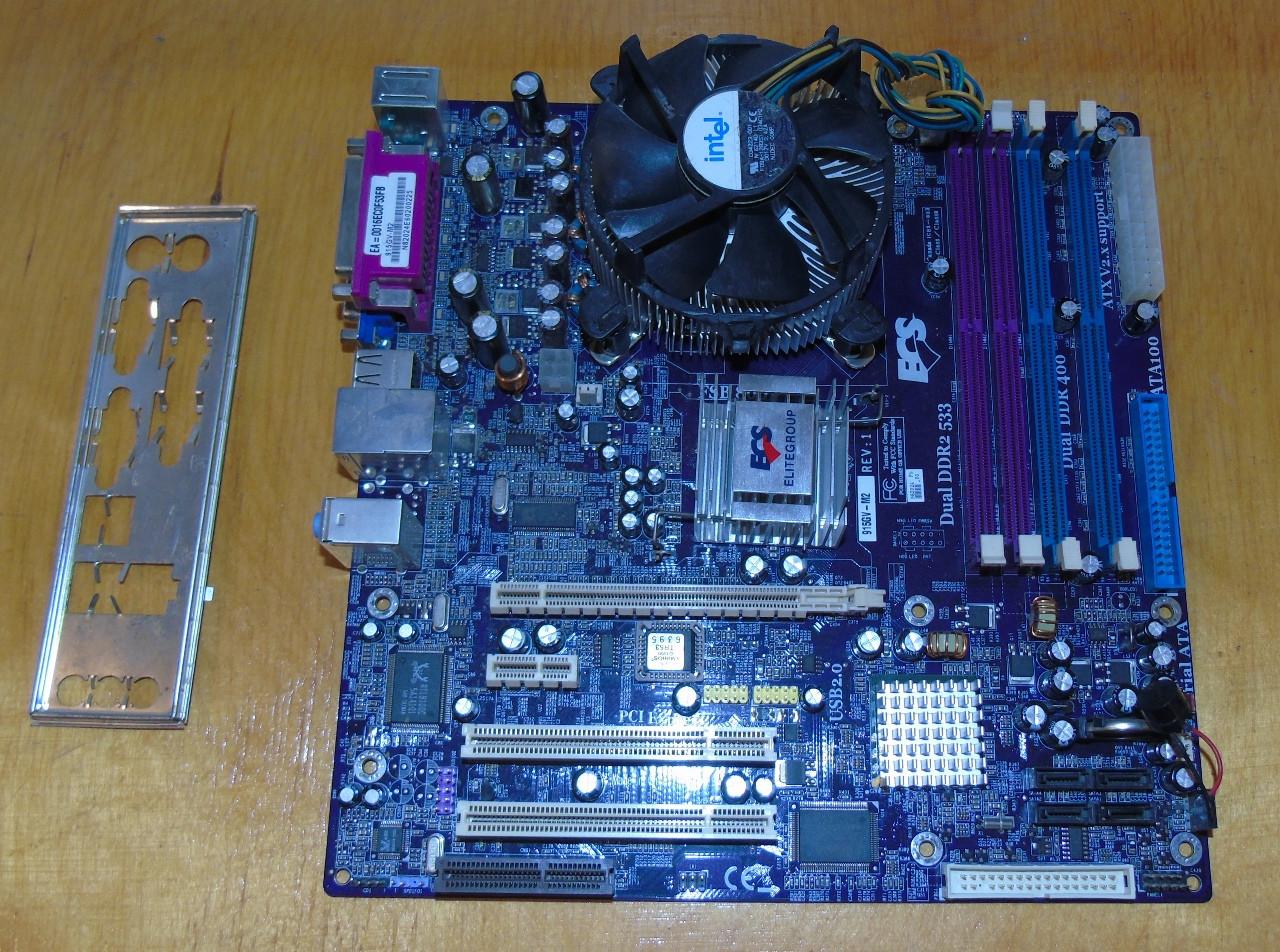 775 Материнская плата ECS 915GV-M2 + Процессор Intel Celeron 336