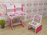 Детская парта-стол растишка со стульчиком высокая для девочки от 3-х лет 035 Лол малиновая
