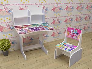 Дитяча парта-стіл растишка зі стільчиком для дівчинки від 3 років Травень Літл Поні 018 лаванда