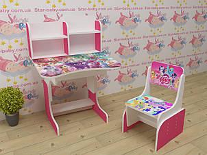 Дитяча парта-стіл растишка зі стільчиком для дівчинки від 3 років Травень Літл Поні 018 малинова