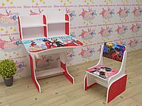 Детская парта-стол растишка со стульчиком от 3 лет Леди Баг 033 красная