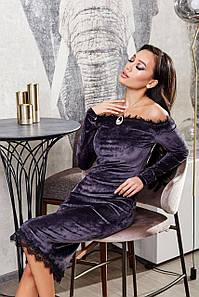 Вечернее платье нарядное платье на новый год 2021 графит р. S, M, L, XL