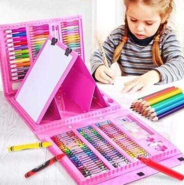 Детский набор для рисования розовый 208 предметов