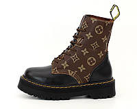 """Ботинки женские зимние кожаные Dr. Martеns & LV """"Черные с коричневым"""" размер 36-41, фото 1"""