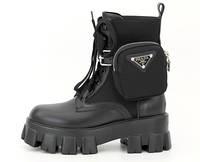 """Ботинки женские кожаные PRАDА Monolith """"Черные""""  р. 36-41, фото 1"""