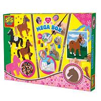Набор для творчества - Веселые лошадки  (канва, игла, мулине, гипс, формочки, краски, кисть, мозаика) Ses