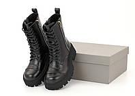 """Ботинки женские кожаные Bаlenсіagа Tractor """"Черные""""  р. 36-41, фото 1"""