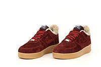 """Зимние замшевые женские кроссовки с мехом Nike Air Force """"Бордовые"""" р. 36-40"""