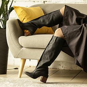 """Сапоги в стиле """"милитари"""" из потертого нубука, каблук 8см, цвет черный"""