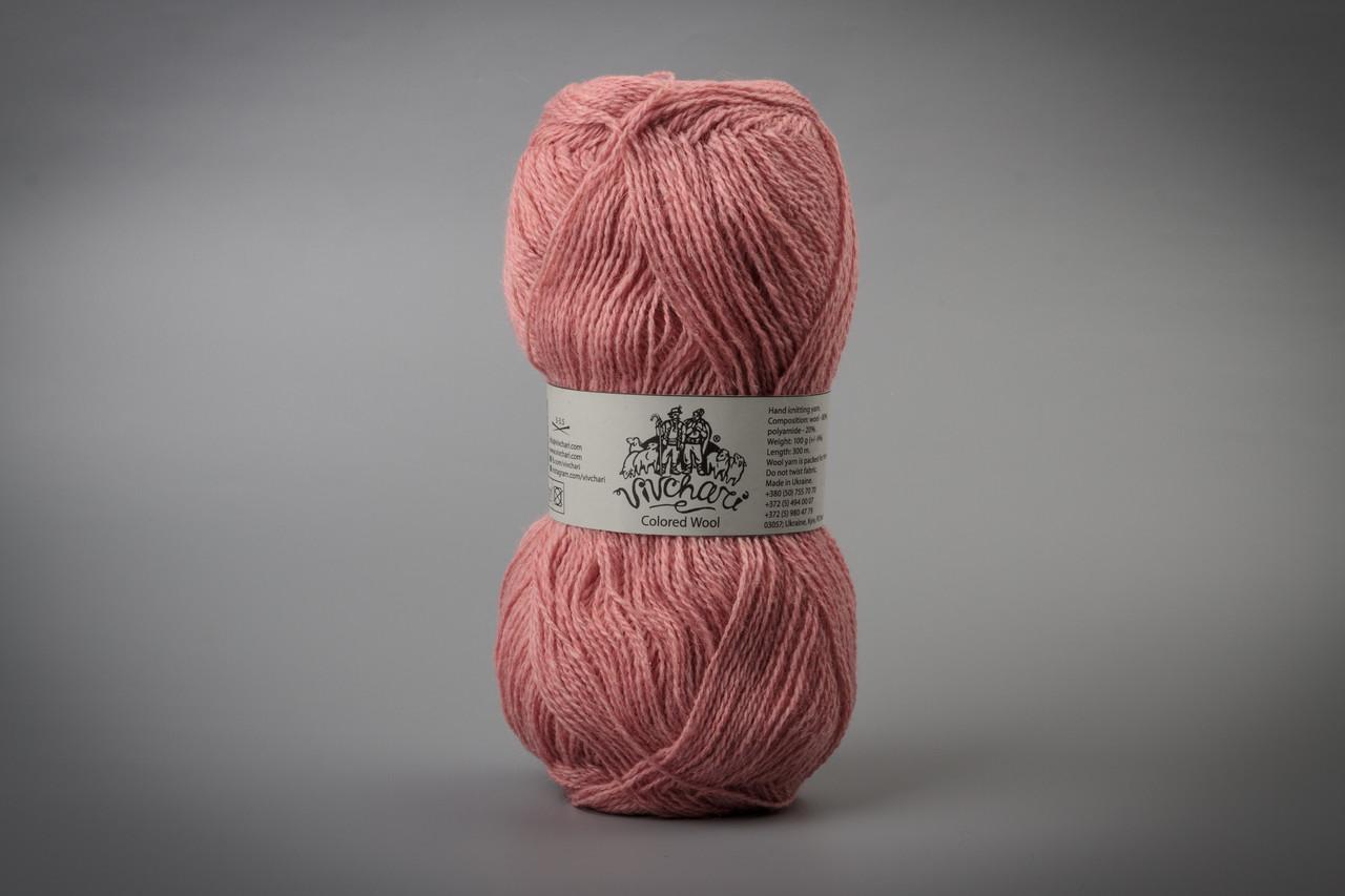 Пряжа шерстяная Vivchari Colored Wool, Color No.801 пастельный розовый