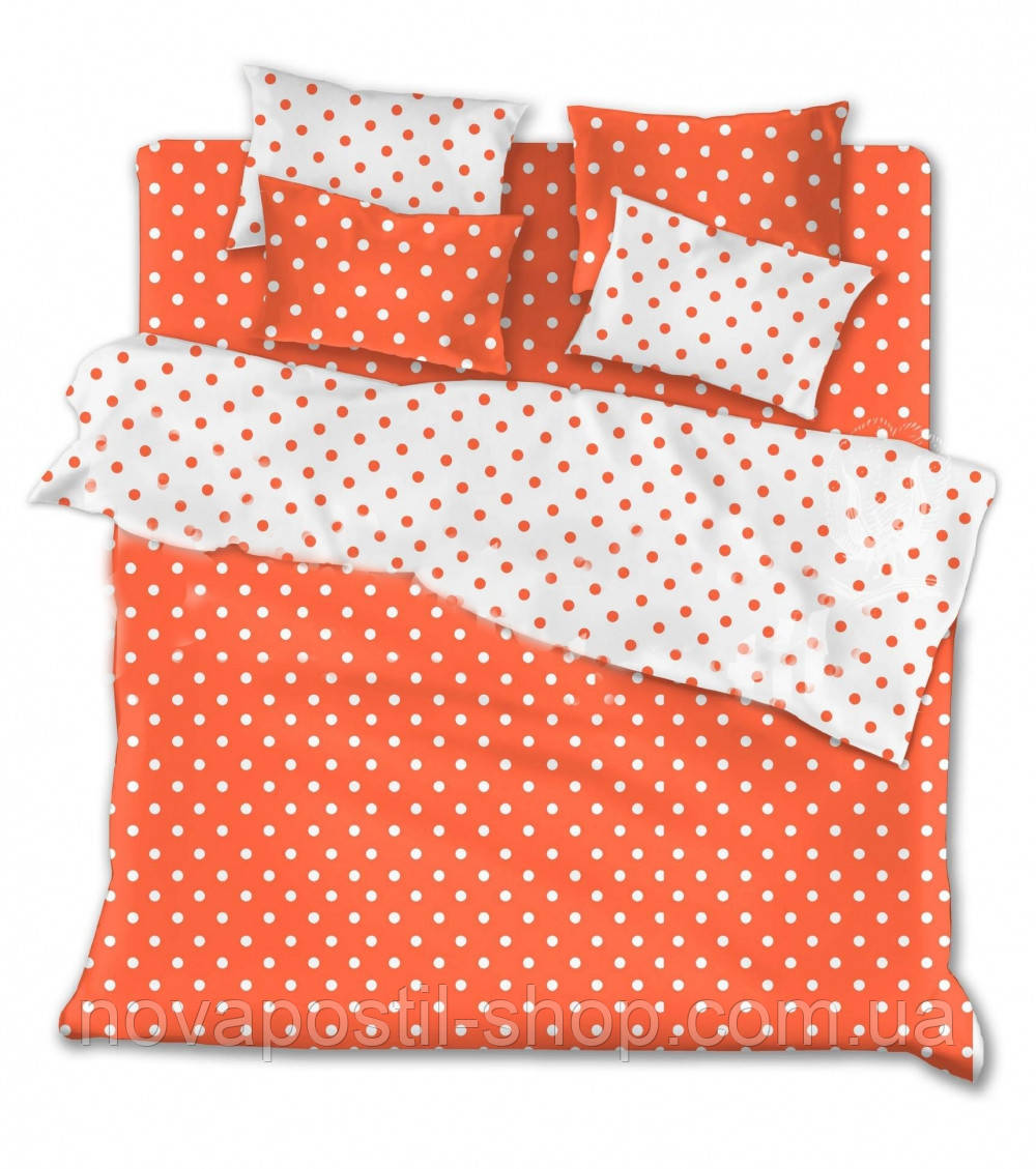 Комплекты однотонного постельного белья Оранжевый горох