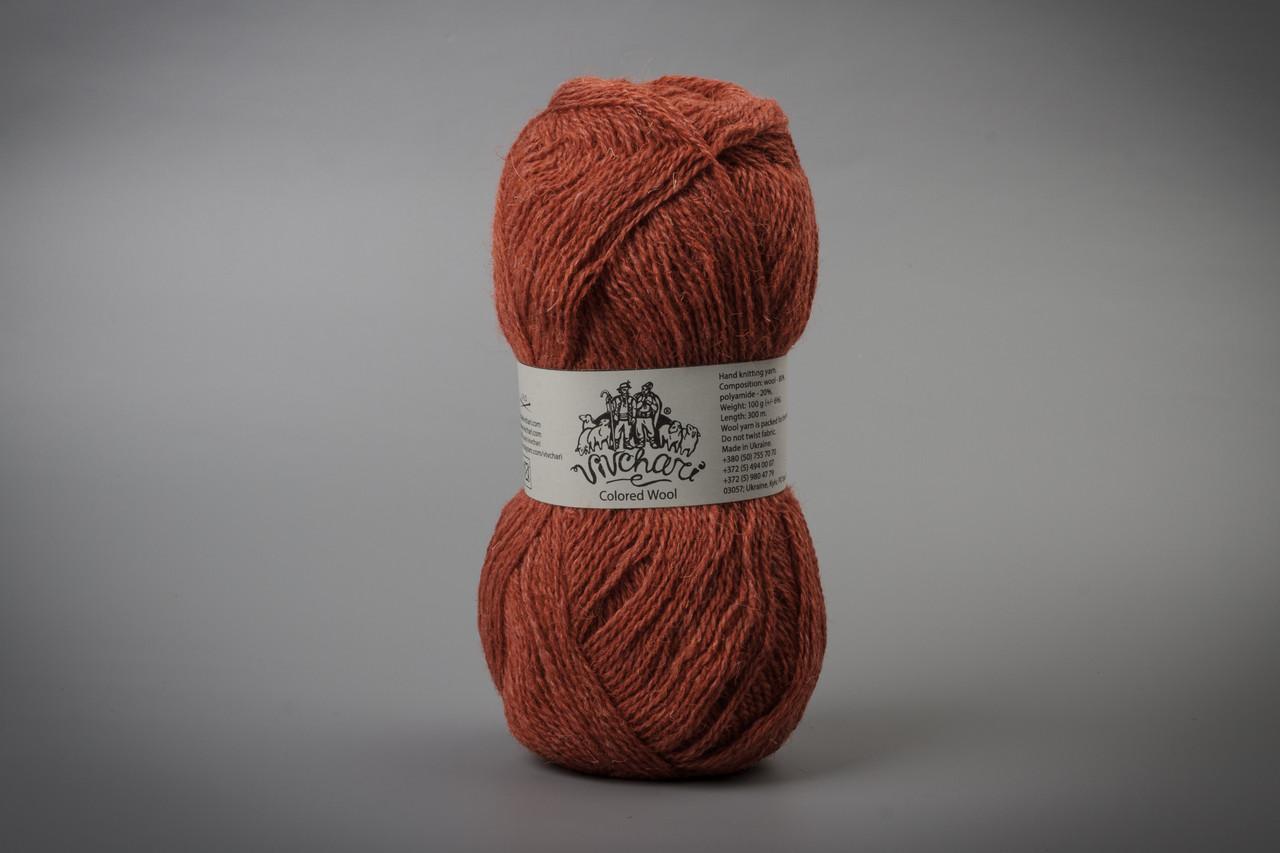 Пряжа шерстяная Vivchari Colored Wool, Color No.802 терракот