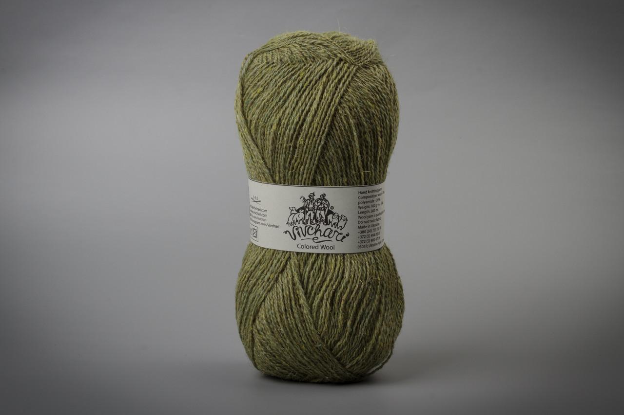 Пряжа шерстяная Vivchari Colored Wool, Color No.804 светлая оливка