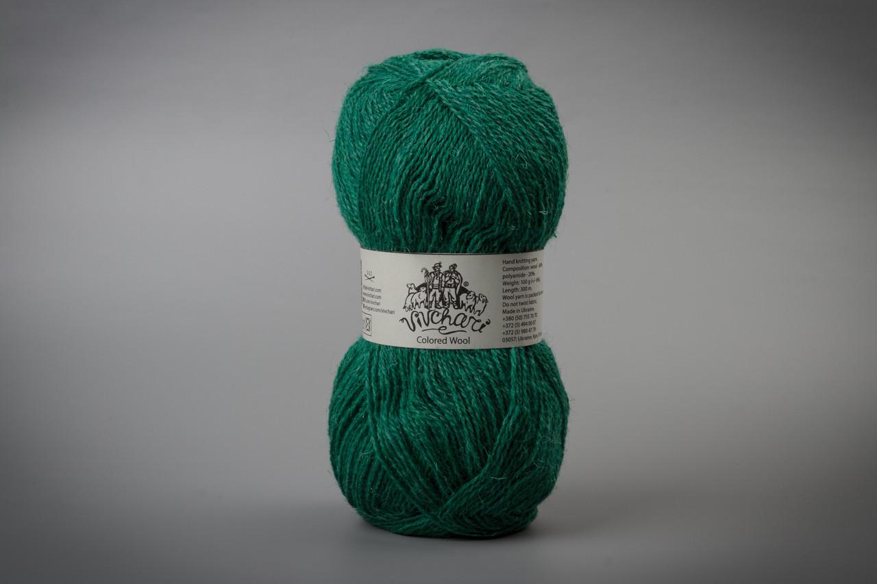 Пряжа шерстяная Vivchari Colored Wool, Color No.805 зеленый изумруд