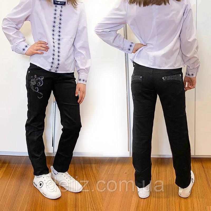 Черные школьные брюки для девочки Lafeidina Jeans 724. Размер 24