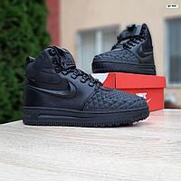 Мужские зимние кроссовки в стиле Nike Lunar Force 1 Duckboot 2017 черные, фото 1