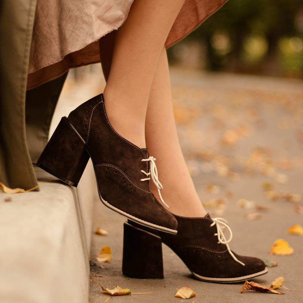 Полуботинки на шнурках, цвет шоколад, в наличии размер 39