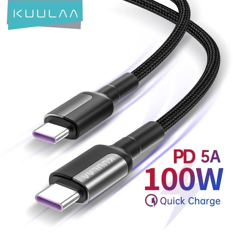Оригинальный кабель KUULAA USB-C PD 100 вт Black Быстрая быстрая зарядка 4.0 для Xiaomi Poco X3, MacBook, iPad