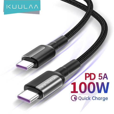 Оригинальный кабель KUULAA USB-C PD 100 вт Black Быстрая быстрая зарядка 4.0 для Xiaomi Poco X3, MacBook, iPad, фото 2