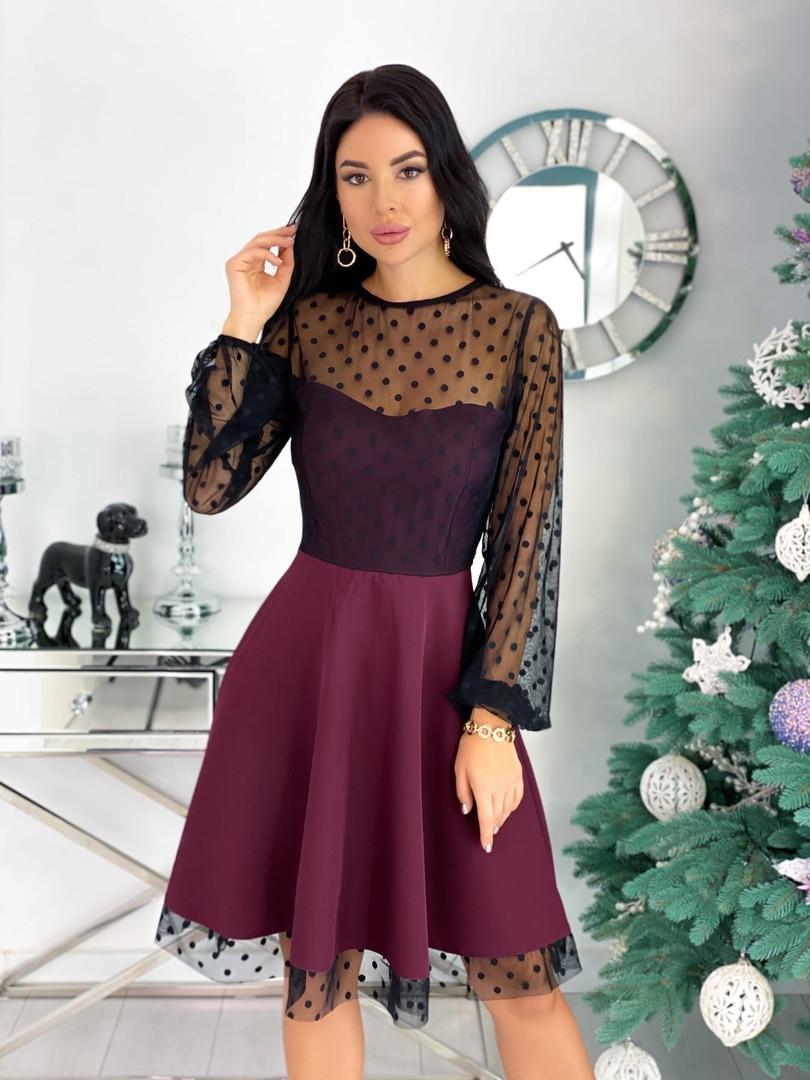 Вечернее комбинированное платье 50-314