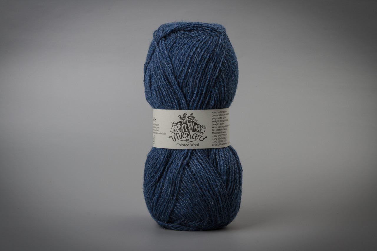 Пряжа шерстяная Vivchari Colored Wool, Color No.808 джинс