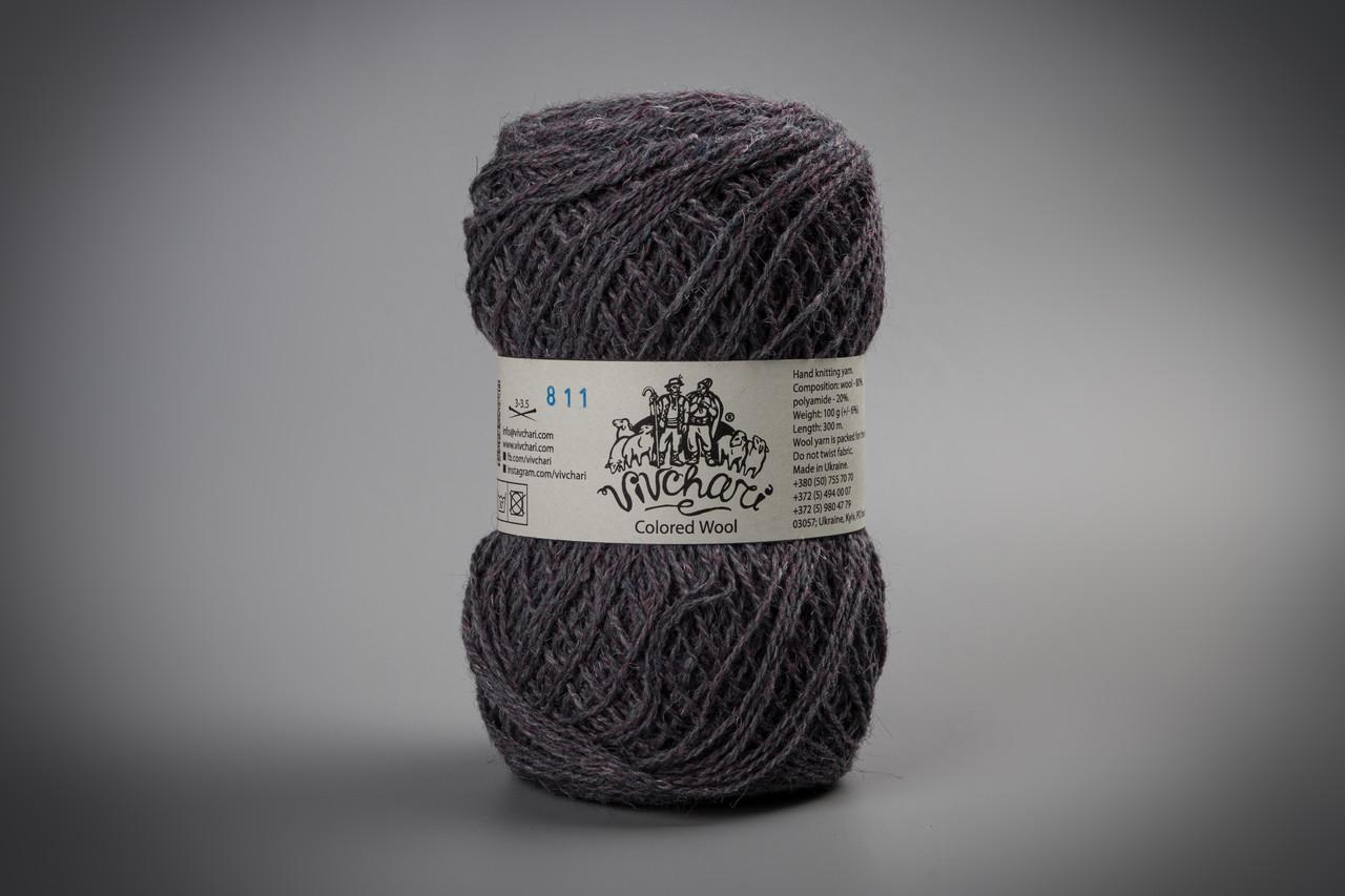 Пряжа шерстяная Vivchari Colored Wool, Color No.811 баклажан