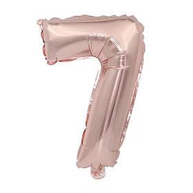 Фольгированная цифра 7 (32') Розовое золото,80 см.