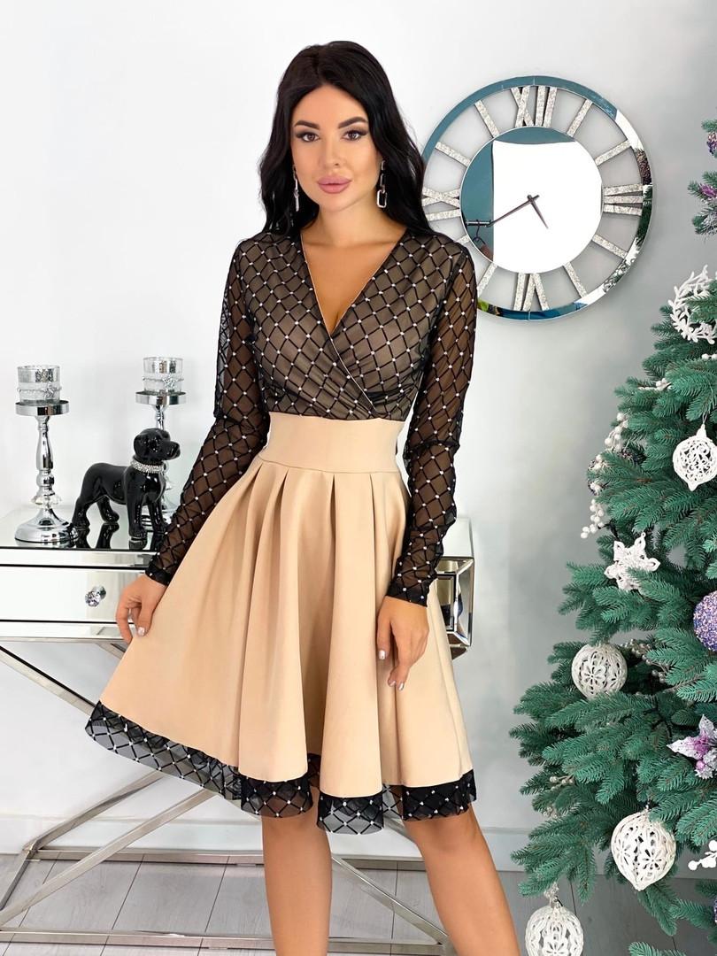 Нарядное комбинированное платье с сеткой 50-472