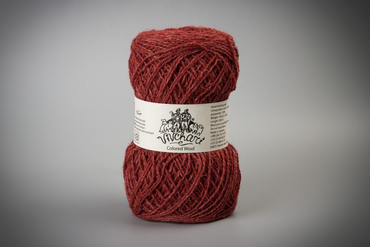 Пряжа шерстяная Vivchari Colored Wool, Color No.812 красный