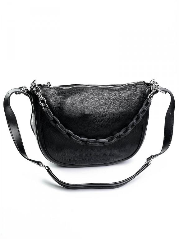 Женская сумка кожаная с трендовой цепью Case 8089 черная