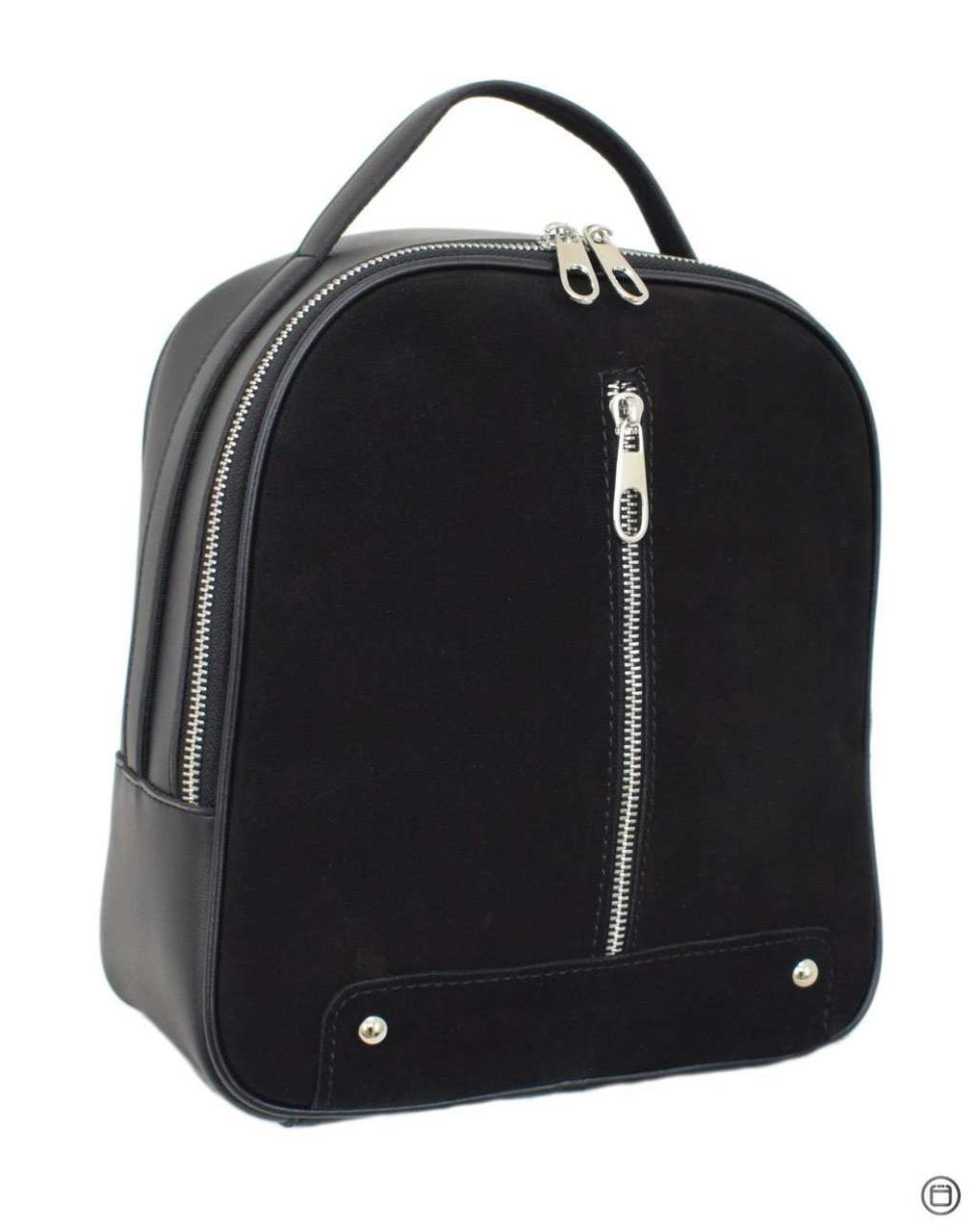 Женский рюкзак кожзам Case 643 замш черный