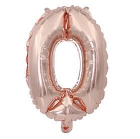 Фольгированная цифра 0 (32') Розовая золото, 80 см.