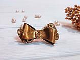 Бантик для собаки (ВИДЕО) из экокожи золотой блестящий из коллекции Leather Eternity Pets Couturier SIMBA, фото 2
